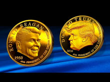 Load and play video in Gallery viewer, Reagan Trump 2 Headed MAGA 24K Gold Coin