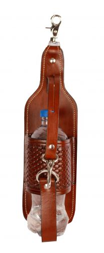 Basketweave tooled leather bottle holder