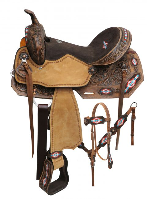 "14"" Double T Barrel Embroidered saddle set"