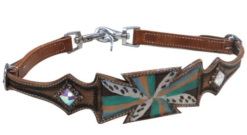 Hand painted cross wither strap with crystal rhinestone conchos