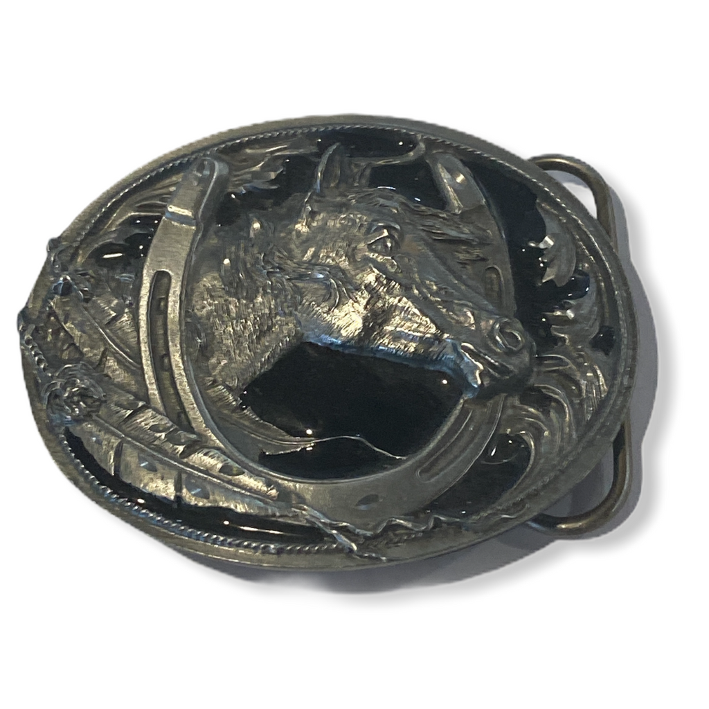 Black grey horse belt buckle