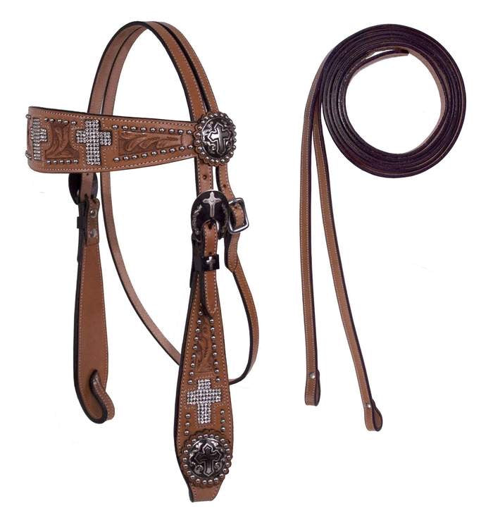 CROSS HEADSTALL WITH MATCHING REINS