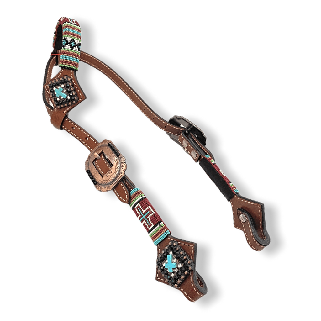 Pony size turquoise cross headstall, breast collar and reins set