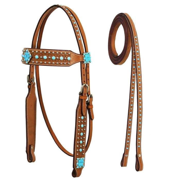 TURQUOISE ACCENTS HEADSTALL WITH MATCHING SPLIT REINS