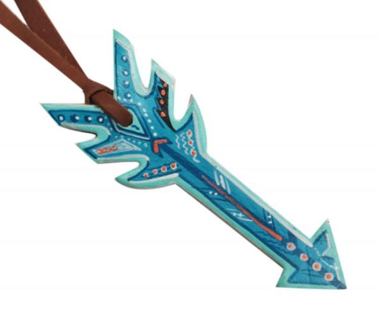 BLUE HAND PAINTED LEATHER TIE ARROW