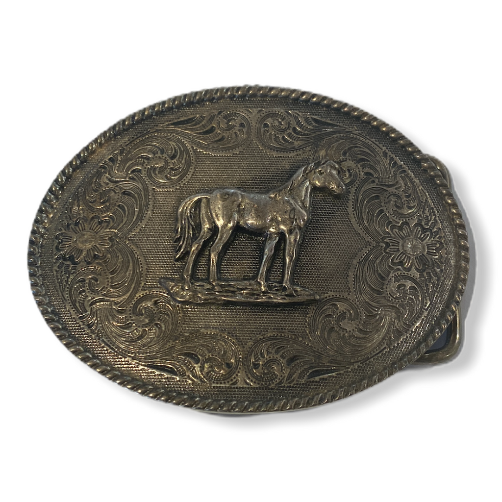 Grey horse belt buckle