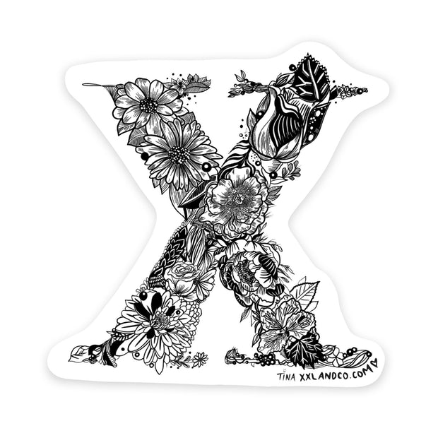 "XXL&CO ""X"" Floral Sticker - XXL Scrunchies"