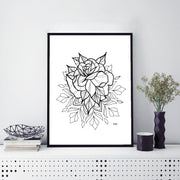 "Rose Mandala Art Print 8.5 x 11"" - XXL SCRUNCHIE & CO"