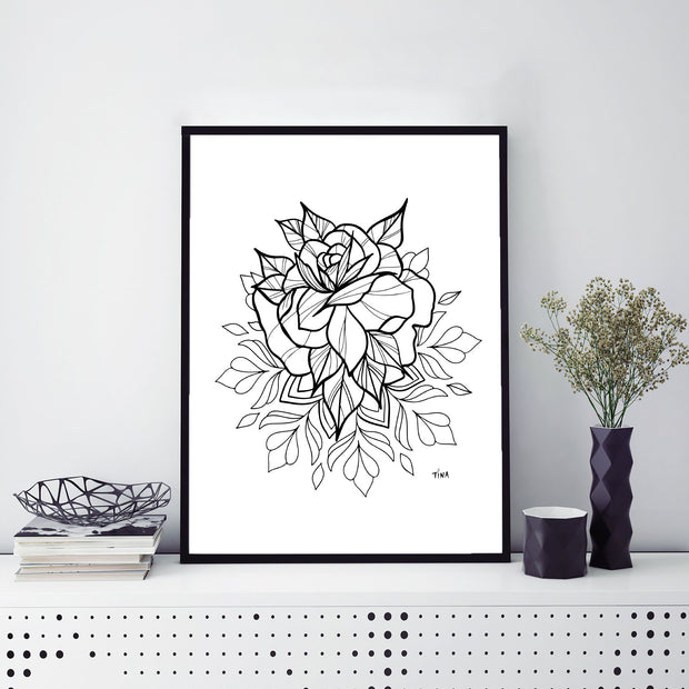 "Rose Mandala Art Print 8.5 x 11"" - XXL Scrunchies"