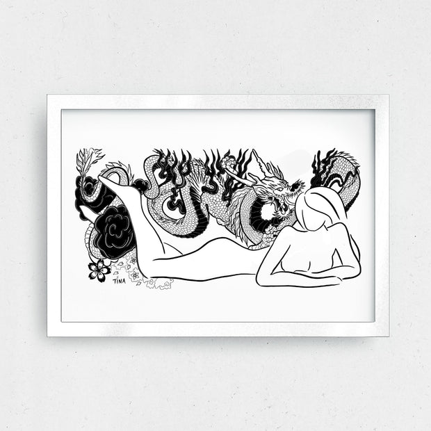 "GIRL DRAGON ART PRINT 11 x 8.5"" - XXL Scrunchies"