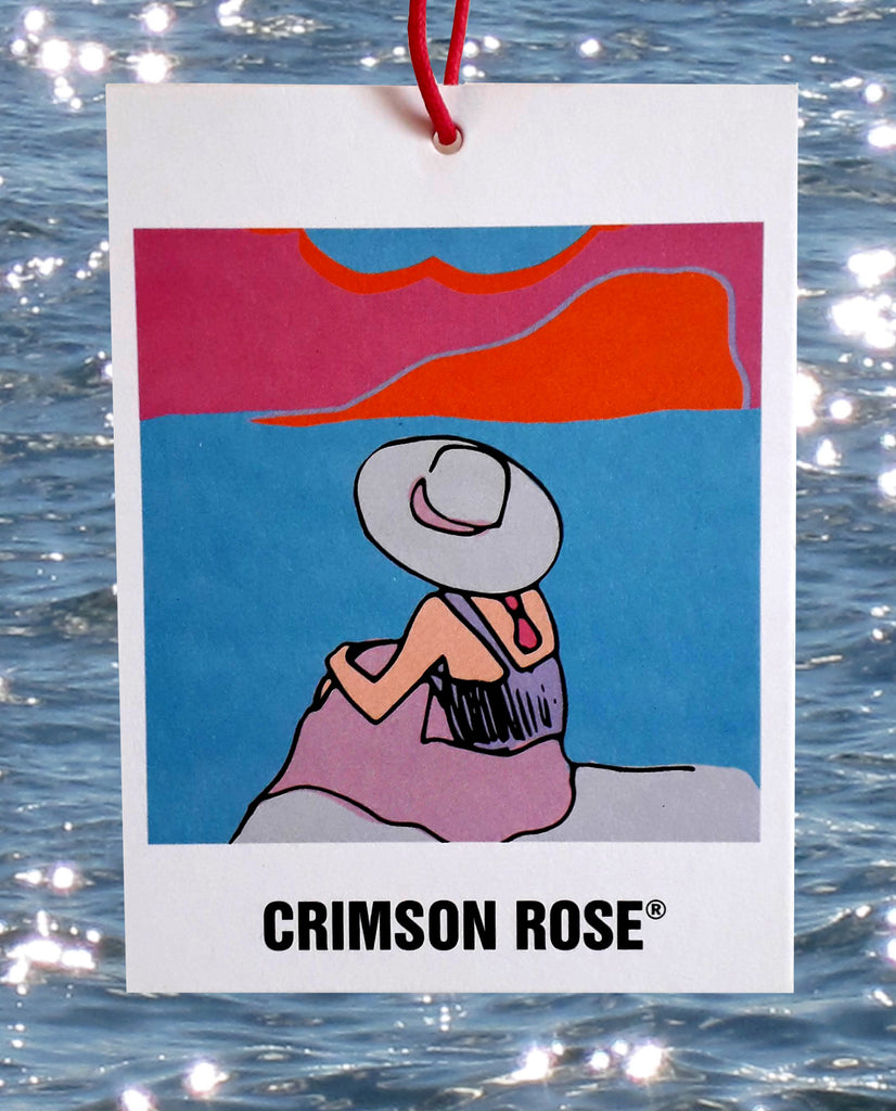 A collage of a Crimson Rose Island Dreams swing ticket with the sea behind.
