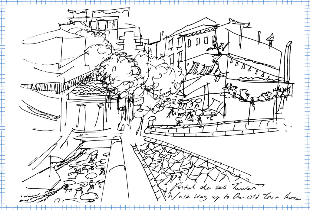 Drawing by Crimson Rose O'Shea of the entrance to dalt vila the old town in Ibiza.