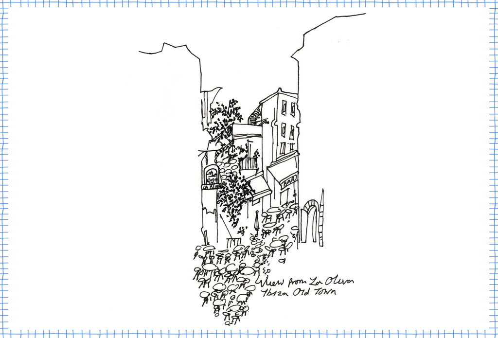 Drawing by Crimson Rose O'Shea looking out from La Olivia restaurant in Ibiza old town.