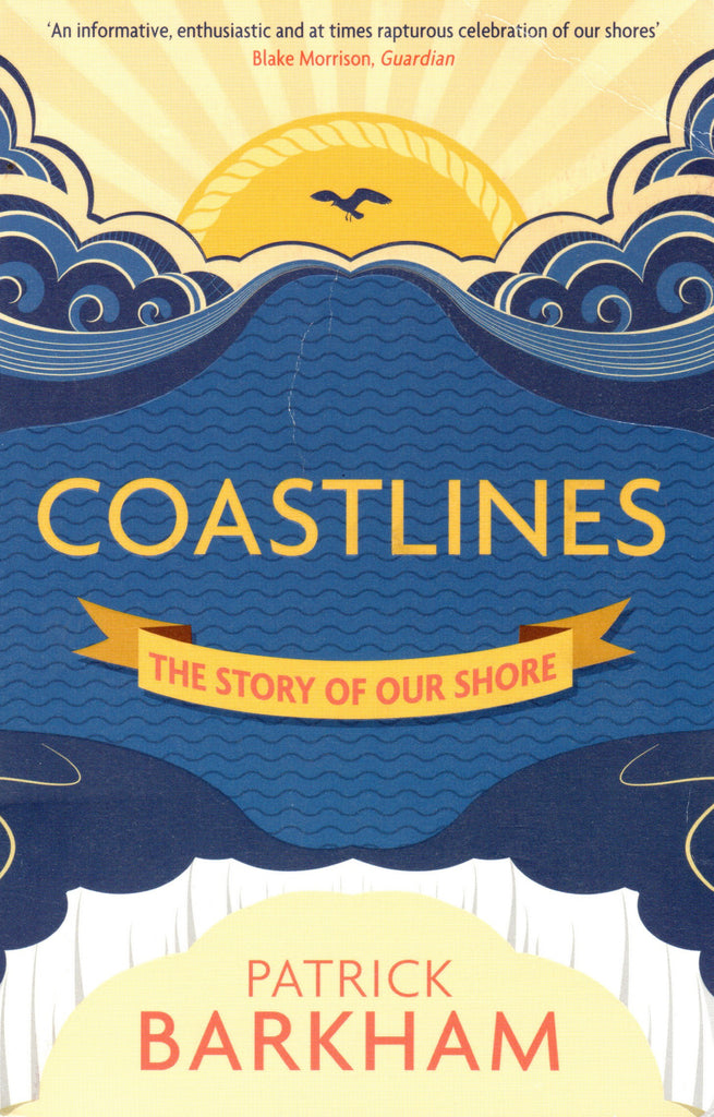Coastlines book cover with illustration of the sea and the sun on the horizon.