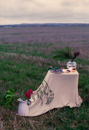 Table set up in a field with clear glass vase, palm leaf, velvety purple potatoes with feta and beetroot whip and pea, pistachio and mint pesto, garnished with chives and pansies with slow roasted salt baked beetroot. Photography 0K Studios.