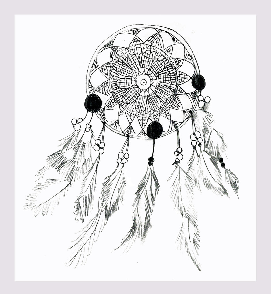 Illustration by Crimson Rose O'Shea of a dream catcher from one of her Ibiza sketchbooks.