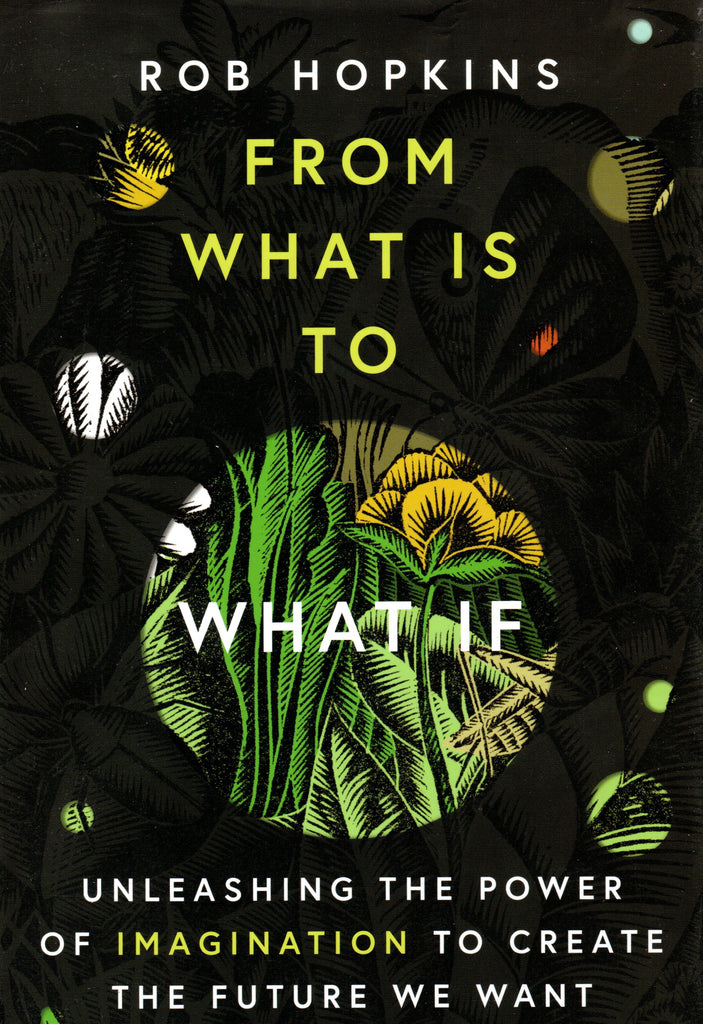 Book cover of From what is to what if by Rob Hopkins with an illustration of the landscape showing through circular cut outs.