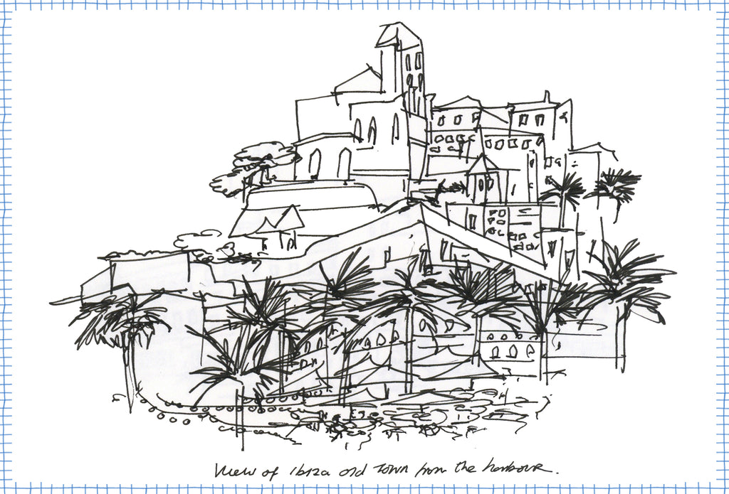 Drawing by Crimson Rose O'Shea of the old town from the marina in Ibiza town.