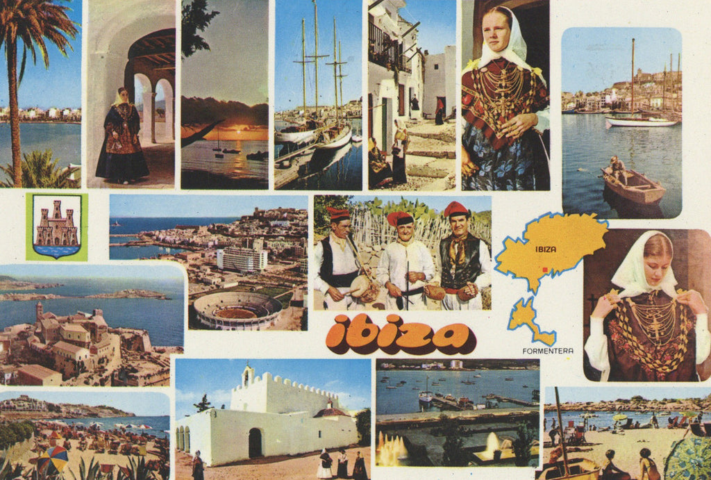 Postcard with landscapes, seascapes and people wearing traditional dress from Ibiza.