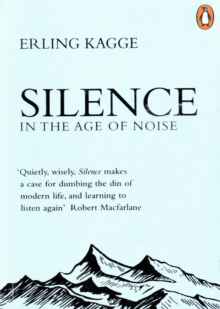 Book cover of Silence with the book title and an illustration of a mountain range in silver foil on a pale blue background.