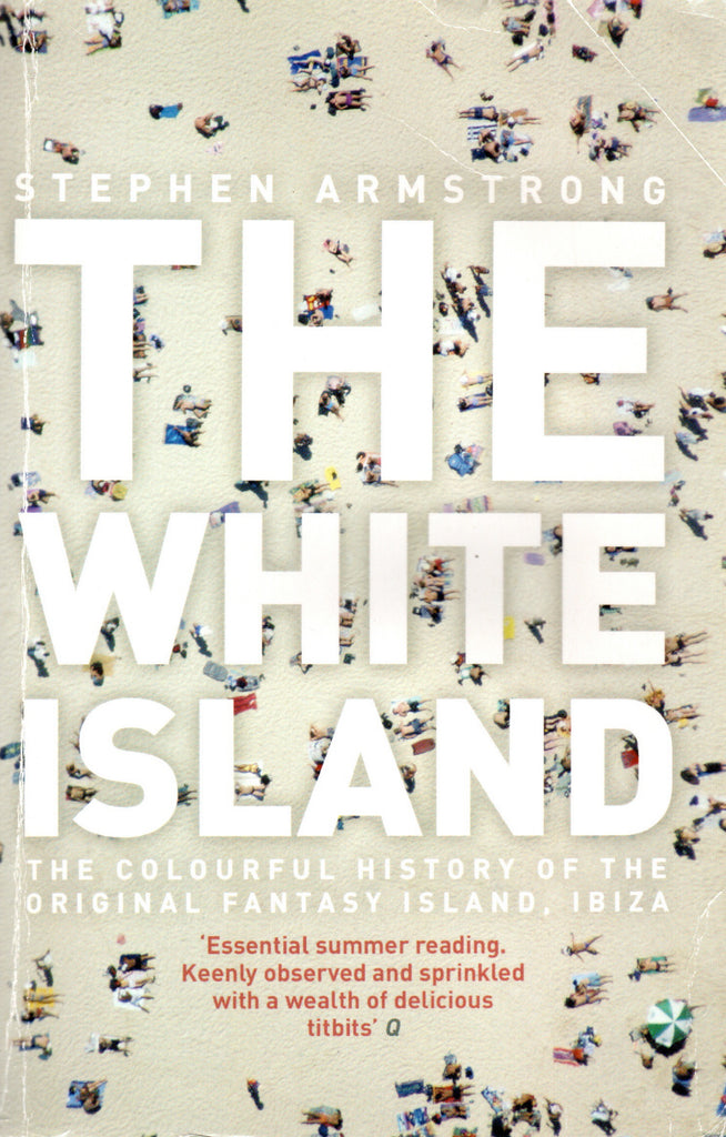 The white island book cover with the title in large white text overlaid on an aerial photo of a beach with people sunbathing.