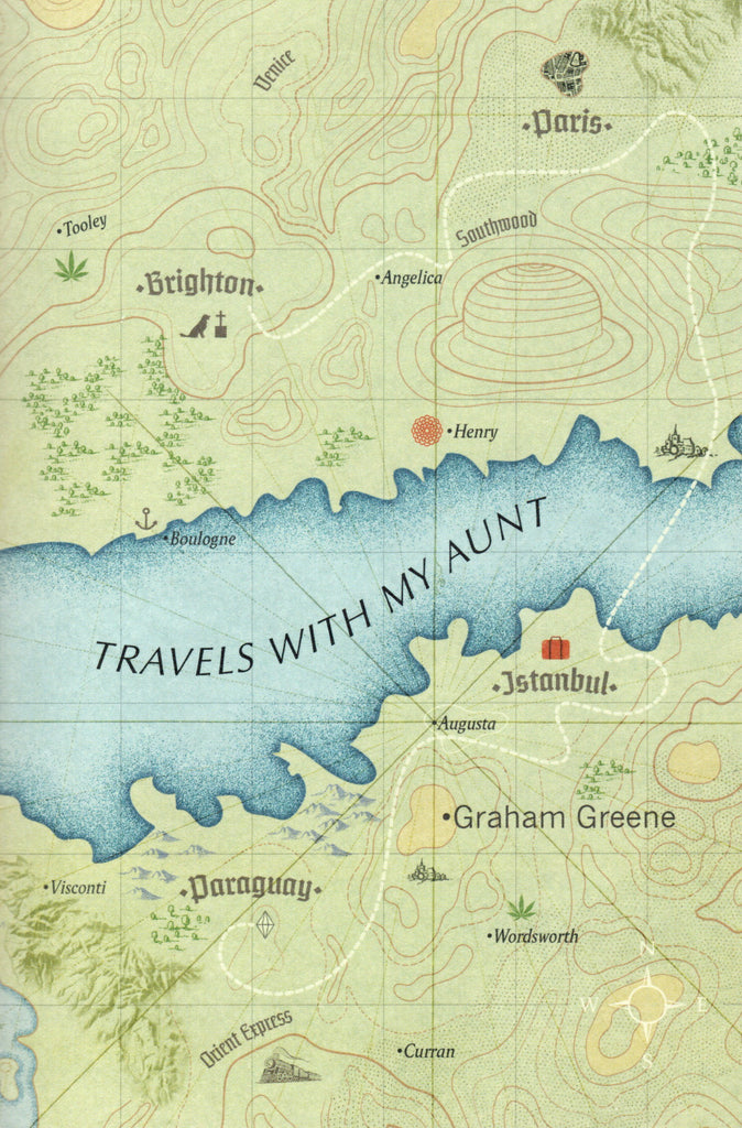 Travels with my aunt book cover featuring an illustrated map.