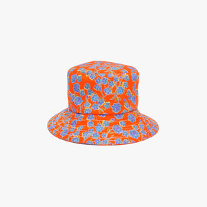 Crimson Rose bucket hat with orange and blue floral print. Photography Rowan Corr.