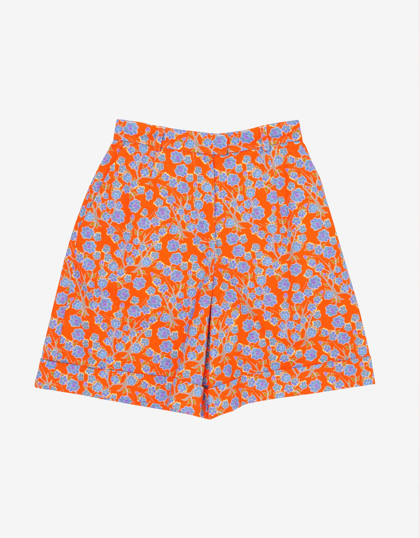 Crimson Rose cotton drill culottes with orange and blue floral print. Photography Rowan Corr.