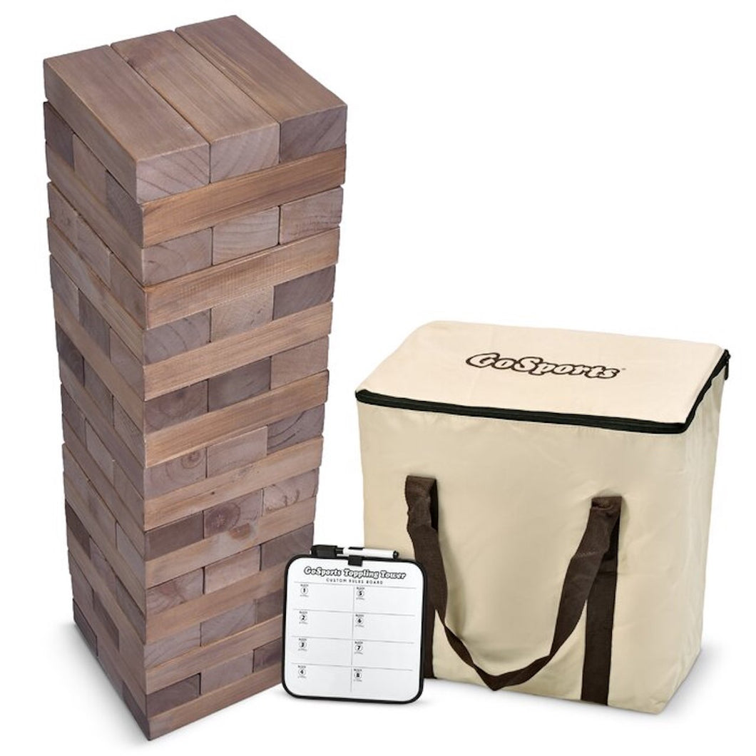 Unique Rustic Wood Giant Jenga Yard Game with carry case and score board for weddings and events