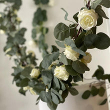 Load image into Gallery viewer, Eucalyptus and Ivory Rose Garland