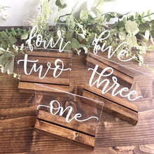 Load image into Gallery viewer, Hand Lettered Acrylic Table Numbers 1-15