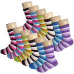 Women's Multicolored Striped Anti Skid Fuzzy Socks with Rubber Grips - 12 Pairs