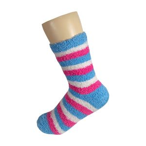 Blue White and Pink Striped Anti Skid Fuzzy Socks with Rubber Grips For Women