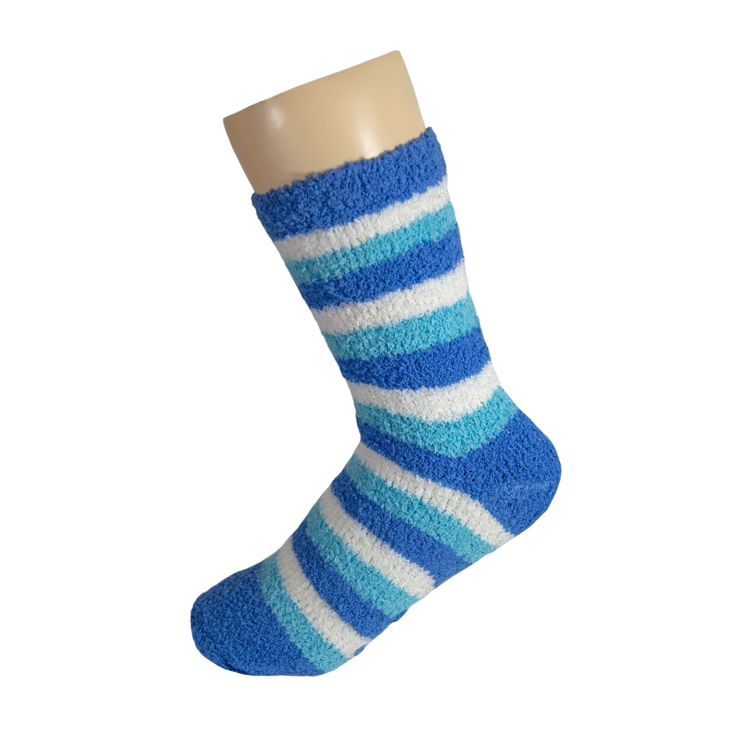 Navy White and Blue Striped  Anti Skid Fuzzy Socks with Rubber Grips For Women