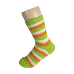 Green White and Orange Striped Anti Skid Fuzzy Socks with Rubber Grips For Women