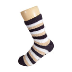 Brown White and Beige Striped Anti Skid Fuzzy Socks with Rubber Grips For Women