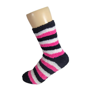 Black White and Pink Striped Anti Skid Fuzzy Socks with Rubber Grips For Women