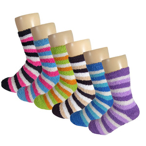 Women's Multicolored Striped Anti Skid Fuzzy Socks with Rubber Grips - 6 Pairs