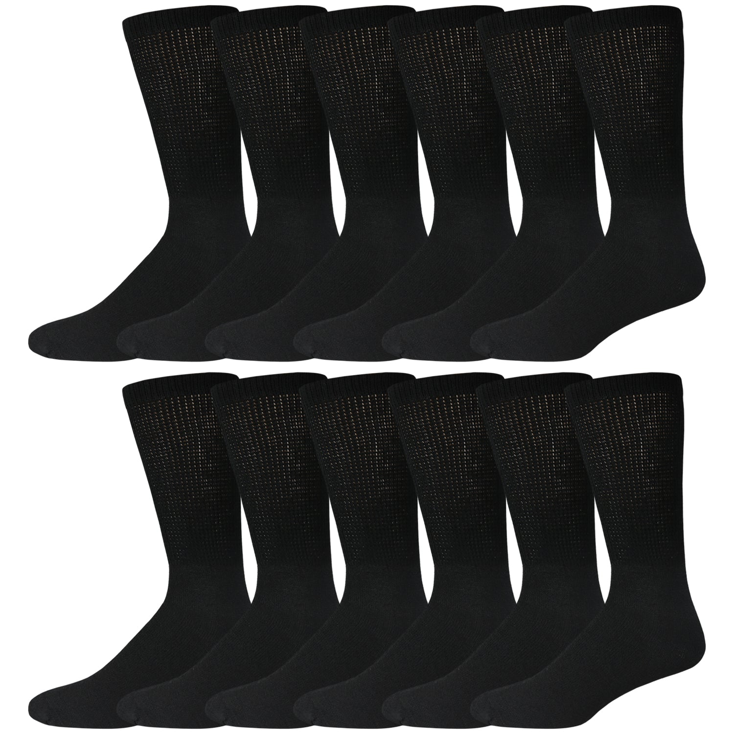 Black Cotton Diabetic Crew Socks With Loose Top 12 Pack