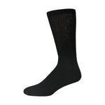 Black Cotton Diabetic Crew Socks With Loose Top