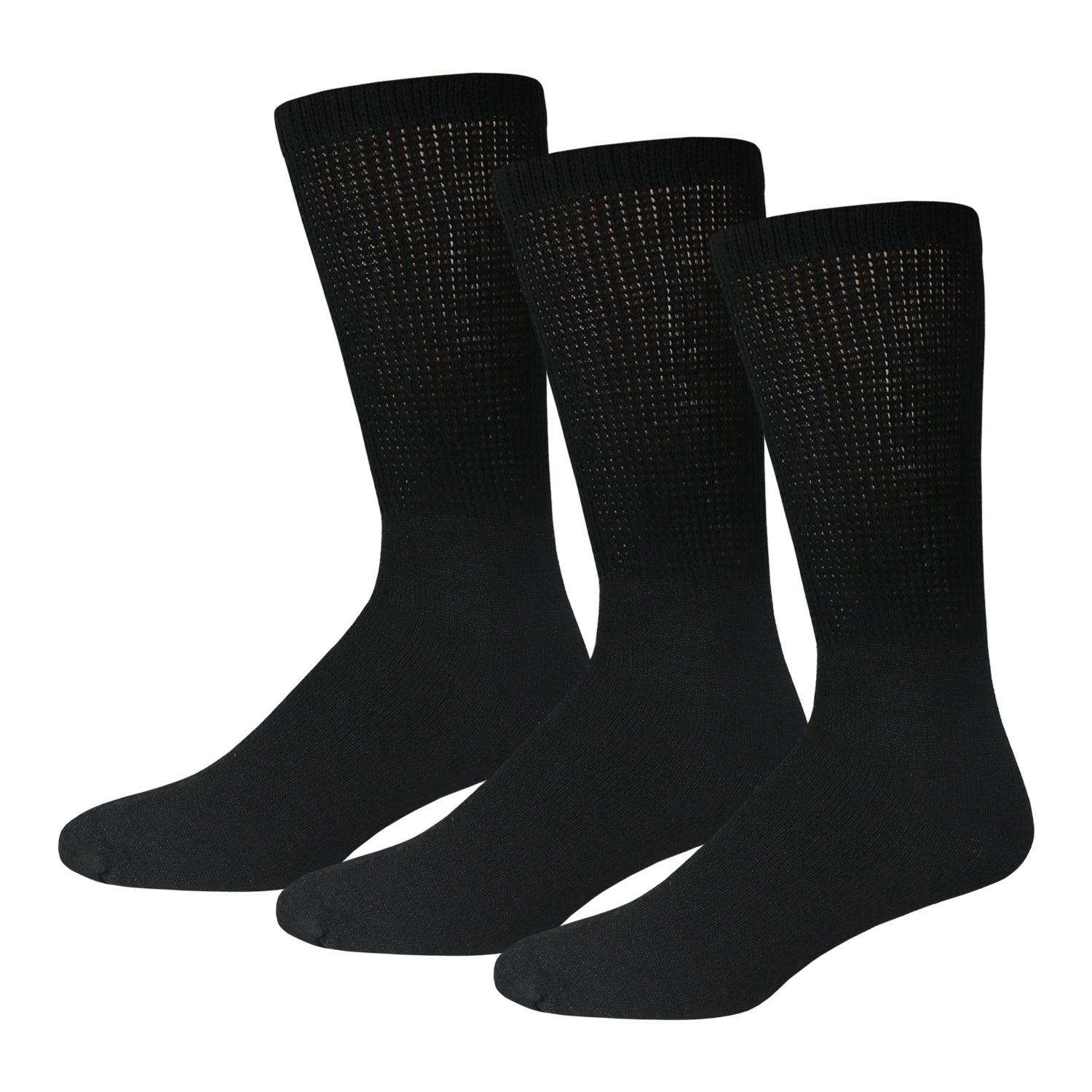 Black Cotton Diabetic Crew Socks With Loose Top 3 Pack