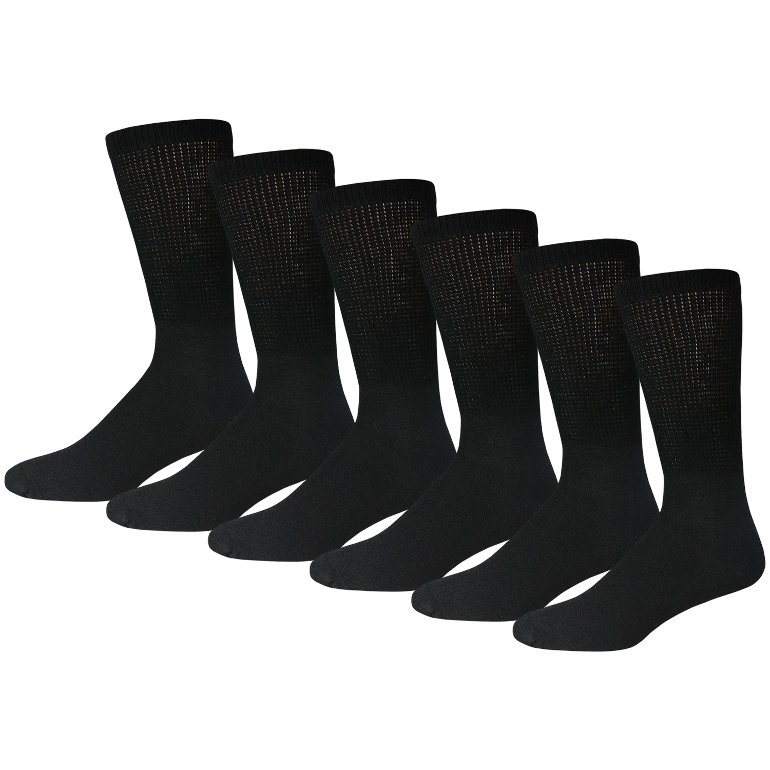 Black Diabetic Cotton Diabetic Crew Socks With Loose Top 6 Pack
