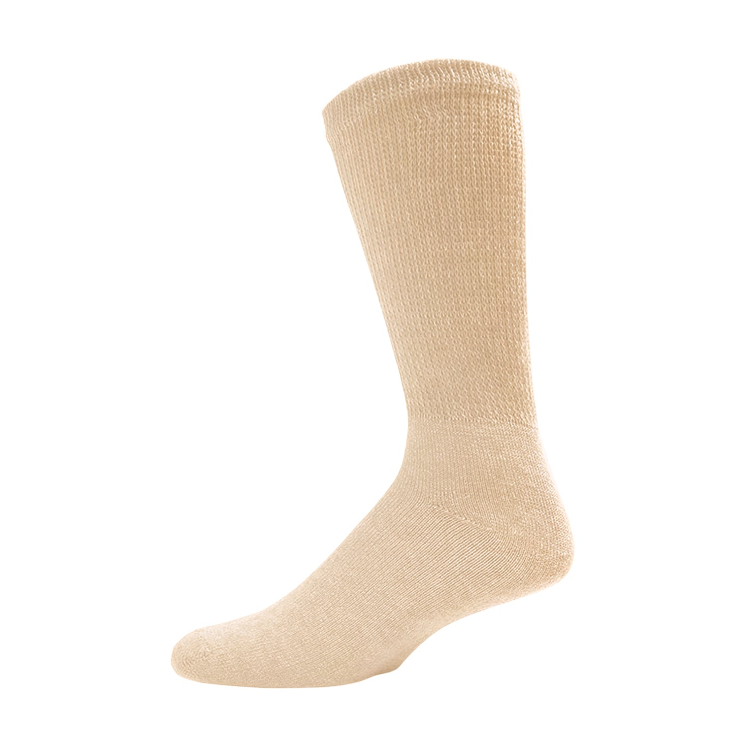 Beige Diabetic Crew Cotton Socks With Ribbed Nonbinding Top