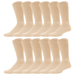 Beige Diabetic Crew Cotton Socks With Ribbed Nonbinding Top 12 Pack