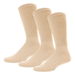 Beige Diabetic Crew Cotton Socks With Ribbed Nonbinding Top 3 Pack
