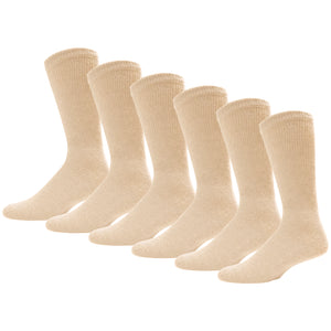 Beige Diabetic Crew Cotton Socks With Ribbed Nonbinding Top 6 Pack