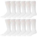 White Diabetic Socks Of Crew Length With Loose Top 12 Pack