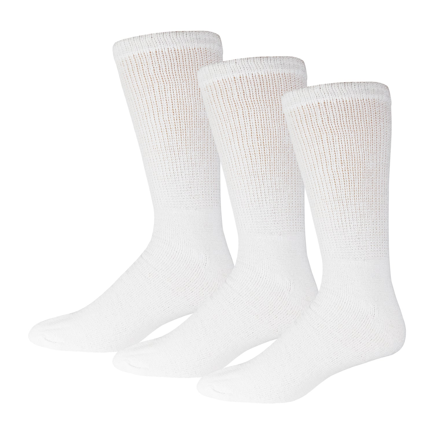 White Diabetic Socks Of Crew Length 3 Pack