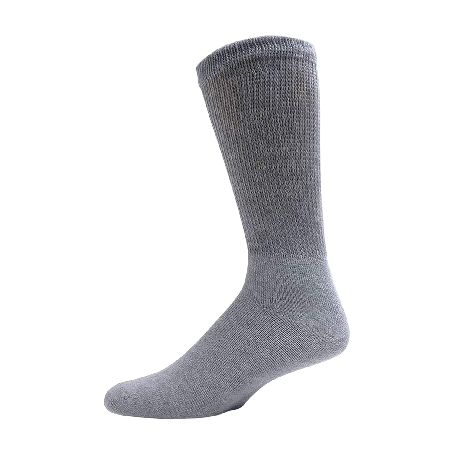 Gray Diabetic Crew Cotton Socks With Ribbed Nonbinding Top