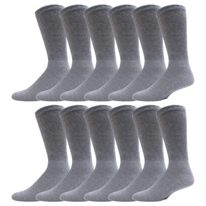 Gray Diabetic Crew Cotton Socks With Ribbed Nonbinding Top 12 Pack